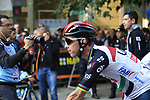 Rui Costa (POR) UAE Team Emirates arrives at sign on before the start of the 99th edition of Milan-Turin 2018, running 200km from Magenta Milan to Superga Basilica Turin, Italy. 10th October 2018.<br /> Picture: Eoin Clarke | Cyclefile<br /> <br /> <br /> All photos usage must carry mandatory copyright credit (© Cyclefile | Eoin Clarke)