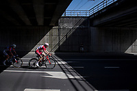 former DDV winner Jelle Wallays (BEL/Cofidis) under the bridge<br /> <br /> 76th Dwars door Vlaanderen 2021 (MEN1.UWT)<br /> 1 day race from Roeselare to Waregem (184km)<br /> <br /> ©kramon