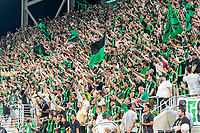 AUSTIN, TX - JUNE 19: The Supporters Group cheers on Austin FC during a game between San Jose Earthquakes and Austin FC at Q2 Stadium on June 19, 2021 in Austin, Texas.