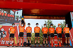 Euskaltel Euskadi at sign on before Stage 3 of La Vuelta d'Espana 2021, running 202.8km from Santo Domingo de Silos to Picon Blanco, Spain. 16th August 2021.    <br /> Picture: Luis Angel Gomez/Photogomezsport | Cyclefile<br /> <br /> All photos usage must carry mandatory copyright credit (© Cyclefile | Luis Angel Gomez/Photogomezsport)