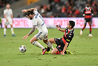 10th February 2021; Bankwest Stadium, Parramatta, New South Wales, Australia; A League Football, Western Sydney Wanderers versus Melbourne Victory; Jacob Butterfield of Melbourne Victory is tackled by Graham Dorrans of Western Sydney Wanderers