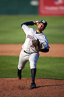 Mahoning Valley Scrappers relief pitcher Ryan Perez (24) delivers a pitch during a game against the Auburn Doubledays on June 19, 2016 at Falcon Park in Auburn, New York.  Mahoning Valley defeated Auburn 14-3.  (Mike Janes/Four Seam Images)