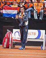 Netherlands, Den Bosch, April 18 2015 Maaspoort, Fedcup Netherlands-Australia,  Dutch captain Paul Haarhuis<br /> Photo: Tennisimages/Henk Koster