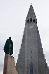 Hallgrímskirkja, a Lutheran (Church of Iceland) parish church in Reykjavík, Iceland. At 73 metres (244 ft), it is the largest church in Iceland. (Bob Gathany)