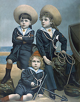 Three boys in sailor suits on the beach. / Unattributed painting / circa 1880