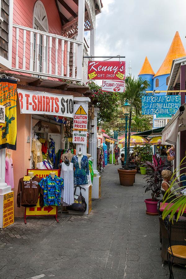Philipsburg, Sint Maarten.  Old Street Street Scene with Shops.