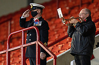 21st November 2020, Oakwell Stadium, Barnsley, Yorkshire, England; English Football League Championship Football, Barnsley FC versus Nottingham Forest; A bugler plays for Remembrance prior to kick off