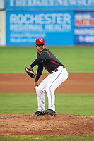Batavia Muckdogs relief pitcher Jeremy Ovalle (31) delivers a pitch during a game against the Tri-City ValleyCats on July 15, 2017 at Dwyer Stadium in Batavia, New York.  Tri-City defeated Batavia 5-4.  (Mike Janes/Four Seam Images)