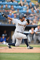 Charleston RiverDogs designated hitter Canaan Smith (15) swings at a pitch during a game against the Asheville Tourists at McCormick Field on May 23, 2019 in Asheville, North Carolina. The RiverDogs defeated the Tourists 7-5. (Tony Farlow/Four Seam Images)