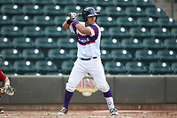 Daniel Gonzalez (17) of the Winston-Salem Rayados at bat against the Potomac Nationals at BB&T Ballpark on August 12, 2018 in Winston-Salem, North Carolina. The Rayados defeated the Nationals 6-3. (Brian Westerholt/Four Seam Images)