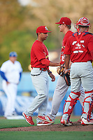 Palm Beach Cardinals manager Oliver Marmol (7) takes the ball from starting pitcher Blake McKnight (15) as catcher Chris Rivera (25) looks on during a game against the Dunedin Blue Jays on April 15, 2016 at Florida Auto Exchange Stadium in Dunedin, Florida.  Dunedin defeated Palm Beach 8-7.  (Mike Janes/Four Seam Images)