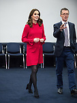 © Joel Goodman - 07973 332324. 06/12/2017 . Manchester , UK . KATE MIDDLETON and NICKY CAMPBELL at a discussion event hosted by the Sesame Street producers . The Duke And Duchess Of Cambridge, Prince William and Kate Middleton, attend the Children's Global Media Summit at the Manchester Central Convention Centre . Photo credit : Joel Goodman