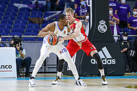 13th October 2021; Wizink Center; Madrid, Spain; Turkish Airlines Euroleague Basketball; game 3; Real Madrid versus AS Monaco; Brock Motum (AS Monaco) tries to steal the ball from Guerschon Yabusele (Real Madrid Baloncesto)