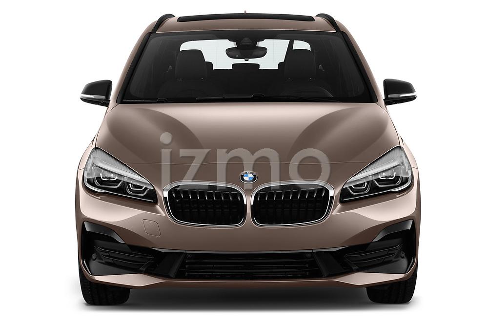 Car photography straight front view of a 2018 BMW 2 Series 225xe iperformance 5 Door Mini Van