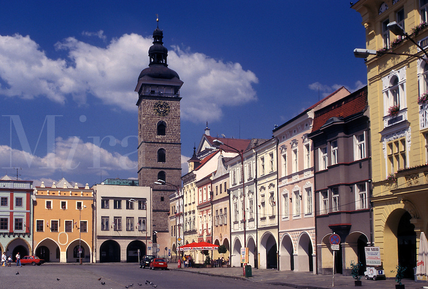 Czech Republic, Ceske Budejovice, Budweis, Southern Bohemia, Cerna vez (The Black Tower) in The Great Square in Budweis.