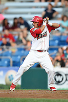Williamsport Crosscutters shortstop Emmanuel Marrero (18) at bat during a game against the Aberdeen IronBirds on August 4, 2014 at Bowman Field in Williamsport, Pennsylvania.  Aberdeen defeated Williamsport 6-3.  (Mike Janes/Four Seam Images)