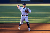 Tampa Tarpons third baseman Andres Chaparro (24) throws to first base during a game against the Dunedin Blue Jays on May 7, 2021 at George M. Steinbrenner Field in Tampa, Florida.  (Mike Janes/Four Seam Images)
