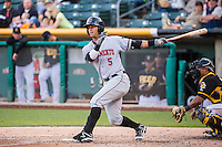 Ronny Cedeno (5) of the Sacramento River Cats at bat against the Salt Lake Bees in Pacific Coast League action at Smith's Ballpark on April 20, 2015 in Salt Lake City, Utah.  (Stephen Smith/Four Seam Images)