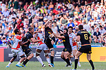 Niklas Hohl of Germany (C) gets the ball during the HSBC World Rugby Sevens Series Qualifier Final match between Germany and Japan as part of the HSBC Hong Kong Sevens 2018 on 08 April 2018 in Hong Kong, Hong Kong. Photo by Marcio Rodrigo Machado / Power Sport Images
