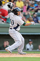 Catcher Roberto Pena (10) of the Lexington Legends, a Houston Astros affiliate, in a game against the Greenville Drive on May 2, 2012, at Fluor Field at the West End in Greenville, South Carolina. Lexington won, 4-2. (Tom Priddy/Four Seam Images)