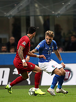 Football: Uefa Nations League Group 3match Italy vs Portugal at Giuseppe Meazza (San Siro) stadium in Milan, on November 17, 2018.<br /> Italy's Ciro Immobile (r) in action with Portugal's Josè Fonte (l) during the Uefa Nations League match between Italy and Portugal at Giuseppe Meazza (San Siro) stadium in Milan, on November 17, 2018.<br /> UPDATE IMAGES PRESS/Isabella Bonotto
