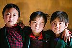 Portrait of some young friends, Paro Valley, Bhutan