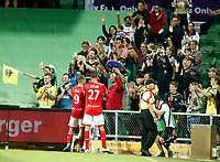 18th April 2021; HBF Park, Perth, Western Australia, Australia; A League Football, Perth Glory versus Wellington Phoenix; Wellington players Steven Taylor and David Ball celebrate with fans after they defeated Perth Glory 1-3