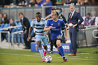 SAN JOSE, CA - MAY 22: Tommy Thompson #22 of the San Jose Earthquakes is marked by Gadi Kinda #17 of Sporting Kansas City during a game between Sporting Kansas City and San Jose Earthquakes at PayPal Park on May 22, 2021 in San Jose, California.