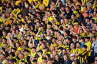 Fans in the grandstand during the A-League football match between Wellington Phoenix and Western United FC at Sky Stadium in Wellington, New Zealand on Saturday, 22 May 2021. Photo: Dave Lintott / lintottphoto.co.nz
