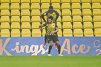 Andre Gray of Watford celebrates after he scores his second goal during the Sky Bet Championship behind closed doors match between Watford and Wycombe Wanderers at Vicarage Road, Watford, England on 3 March 2021. Photo by David Horn.