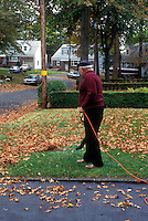 Man using leaf blower to remove fallen leaves from home lawn grass in fall in front yard showing suburban street with trees and driveway and road