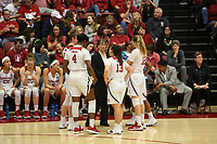STANFORD, CA - March 17, 2018: Nadia Fingall, Alanna Smith, Marta Sniezek, Brittany McPhee, Tara VanDerveer at Maples Pavilion. The Stanford Cardinal defeated the Gonzaga Bulldogs 82-68 to advance to the second round of the NCAA tournament.