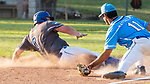 PROSPECT, CT 072231JS22 Blasius Chevrolet's Dan Heden (0) slides safely into third base in front of the tag by Torrington's Kyle (Matthews (11) during the first round of the Tri-State Baseball Playoffs Friday at Hotchkiss Field in Prospect. <br /> Jim Shannon Republican American