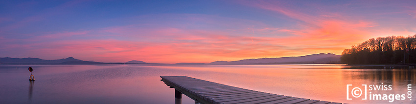 """View on """"Lac Léman"""" at sunset"""