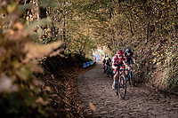 Eli Iserbyt (BEL/Pauwels Sauzen-Bingoal) up the infamous Koppenberg.<br /> <br /> Koppenbergcross 2020 (BEL)<br /> men's race<br /> <br /> ©kramon