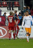 07 May 2011: Toronto FC forward Joao Plata #7 celebrates a goal with Toronto FC forward Maicon Santos #29 during an MLS game between the Houston Dynamo and the Toronto FC at BMO Field in Toronto, Ontario..Toronto FC won 2-1.