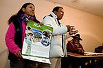 Andean Mountain Cat (Leopardus jacobita) biologists, Juan Carlos Huaranca Ariste and Alejandra Rocio Torrez Tarqui, leading educational outreach workshop, Ciudad de Piedra, Andes, western Bolivia