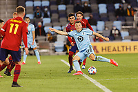 SAINT PAUL, MN - APRIL 24: Robin Lod #17 of Minnesota United FC strikes the ball during a game between Real Salt Lake and Minnesota United FC at Allianz Field on April 24, 2021 in Saint Paul, Minnesota.