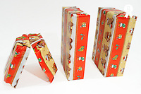 Four wrapped gift boxes on white background (Licence this image exclusively with Getty: http://www.gettyimages.com/detail/95794853 )