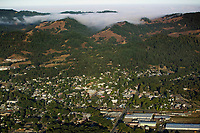 aerial photograph of Willits, Mendocino County, California, fog is visible in the coastal mountains to the west