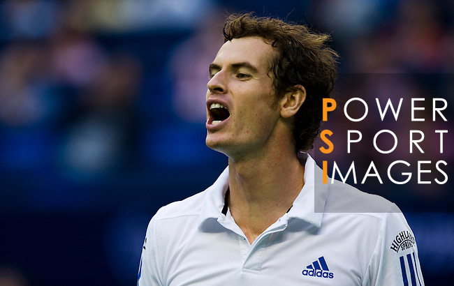 SHANGHAI, CHINA - OCTOBER 16:  Andy Murray of Great Britain shouts after loosing a point to Juan Monaco of Argentina during day six of the 2010 Shanghai Rolex Masters at the Shanghai Qi Zhong Tennis Center on October 16, 2010 in Shanghai, China.  (Photo by Victor Fraile/The Power of Sport Images) *** Local Caption *** Andy Murray