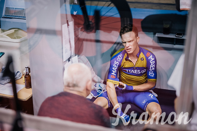Iljo Keisse (BEL/Deceuninck-QuickStep) returning to his trackside bunk after a race<br /> <br /> zesdaagse Gent 2019 - 2019 Ghent 6 (BEL)<br /> day 2<br /> <br /> ©kramon