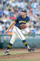 Michigan Wolverines pitcher Jeff Criswell (17) follows through on his delivery against the Vanderbilt Commodores during Game 3 of the NCAA College World Series Finals on June 26, 2019 at TD Ameritrade Park in Omaha, Nebraska. Vanderbilt defeated Michigan 8-2 to win the National Championship. (Andrew Woolley/Four Seam Images)