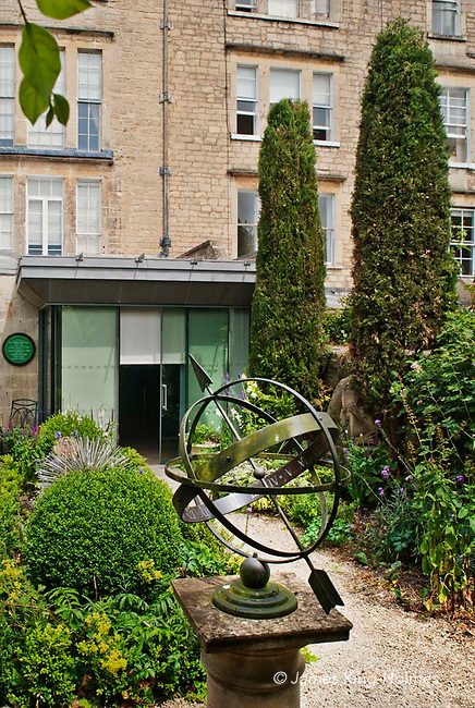 The garden of the Herschel Museum of Astronomy in Bath, UK. The Museum is housed in the building in which William and Caroline Herschel lived and worked from 1772 until 1782.