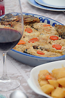 Jewish  Passover Seder wine and gefilte fish