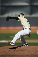 Wake Forest Demon Deacons relief pitcher Wyatt Beddow (7) in action against the Quinnipiac Bobcats at David F. Couch Ballpark on February 24, 2019 in  Winston-Salem, North Carolina.  The Demon Deacons defeated the Bobcats 15-5.  (Brian Westerholt/Four Seam Images)