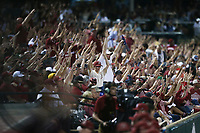 Arkansas fans call the hogs, Saturday, June 5, 2021 during the fifth inning in the second game of the NCAA Fayetteville Regional at Baum-Walker Stadium in Fayetteville. Check out nwaonline.com/210606Daily/ for today's photo gallery. <br /> (NWA Democrat-Gazette/Charlie Kaijo)