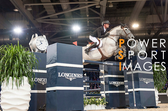 Jerome Guery of Belgium riding Papillon Z competes during the Hong Kong Jockey Club Trophy competition, part of the Longines Masters of Hong Kong on 10 February 2017 at the Asia World Expo in Hong Kong, China. Photo by Marcio Rodrigo Machado / Power Sport Images