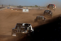 Apr 16, 2011; Surprise, AZ USA; LOORRS driver Rodrigo Ampudia (36) leads a pack of drivers down the front straight during round 3 at Speedworld Off Road Park. Mandatory Credit: Mark J. Rebilas-