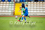 Ronan Teahan tussles with Cian Johnson of Limerick in the EA Sports U17 League of Ireland soccer game